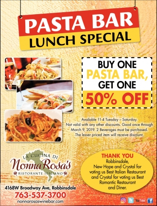 Pasta Bar Lunch Special