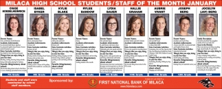 Milaca High School Students/ Staff of the Month January