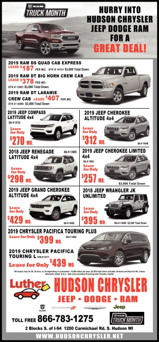 Hurry Into Hudson Chrysler Jeep Dodge Ram for a Great Deal!