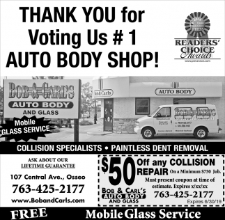 Thank You for Voting Us #1 Auto Body Shop!