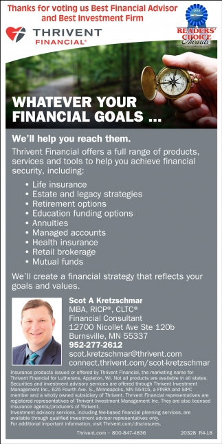 bc755f18ba2 Services  Thrivent Financial - Scot A. Kretzschmar  Thanks for Voting Us ...