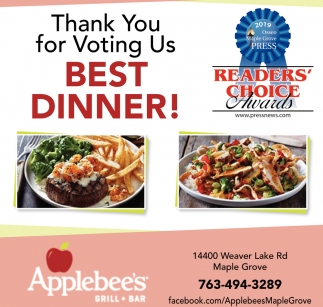 Thank You for Voting Us Best Dinner