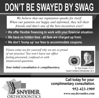 Don't Be Swayed by Swag