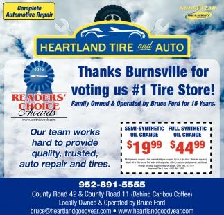 Thanks Burnsville for Voting Us #1 Tire Store!