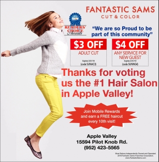 Thanks for Voting Us the #1 Hair Salon in Apple Valley!