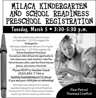 Milaca Kindergarten and School Readiness Preschool Registration