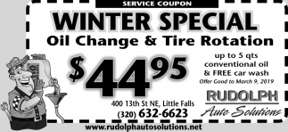 Winter Special Oil Change & Tire Rotation