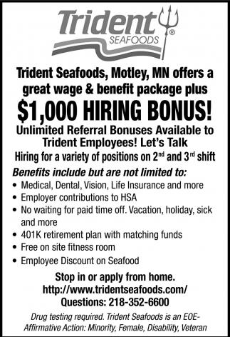 $1,000 Hiring Bonus!