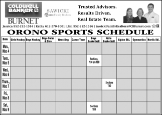 Orono Sports Schedule