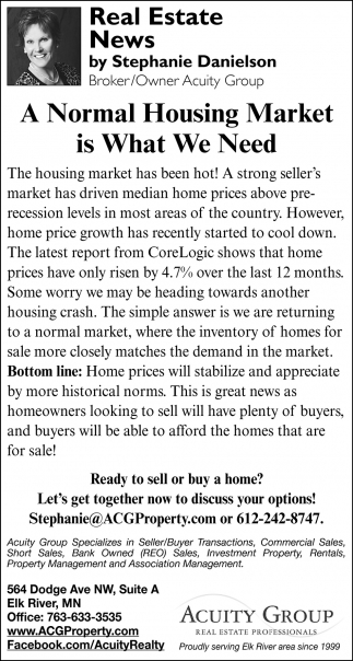 A Normal Housing Market is What We Need