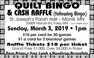 Quilt Bingo & Cash Raffle