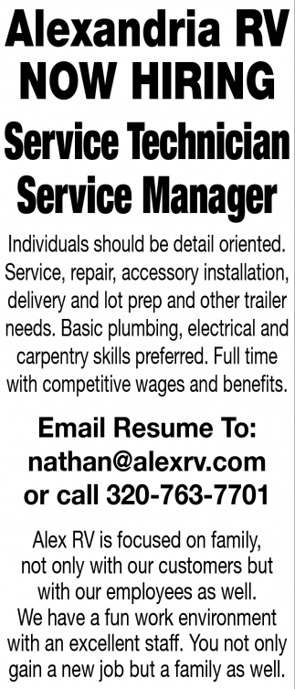 Service Technician & Service Manager