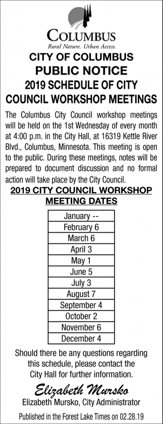 2019 Schedule of City Council Workshop Meetings