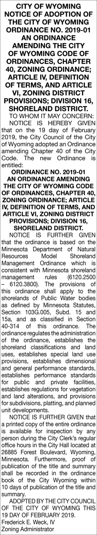 Notice of Adoption of the City of Wyoming