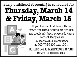 Early Childhood Screening is Scheduled for Thursday, March 14 & Friday, March 15