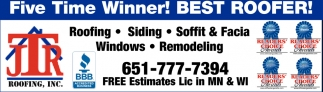 Five Time Winner! Best Roofer!
