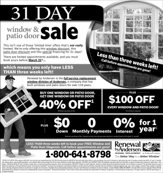 31 Day Window & Patio Door Sale