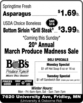 20th Annual March Produce Madness Sale