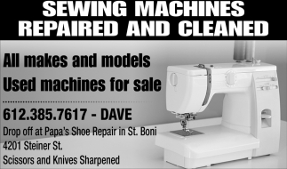 Sewing Machines Repaired and Cleaned