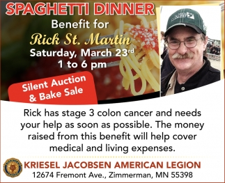 Spaghetti Dinner Benefit for Rick St. Martin