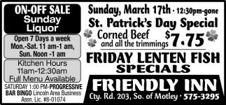 Friday Lenten Fish Specials