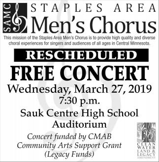 SAMC Staples Area Men's Chorus Free Concert