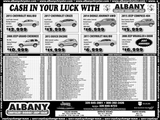 Cash in Your Luck with Albany Chrysler