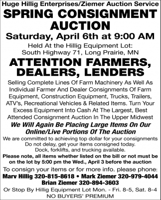 We Will Again Be Placing Large Items On Our Online/ Live Portions of the Auction