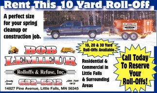 Call Today to ReserveYour Roll-Offs!