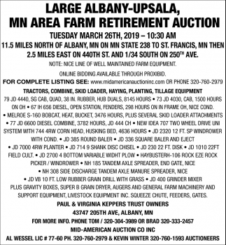 MN Area Farm Retirement Auction