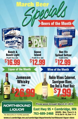 March Beer Specials