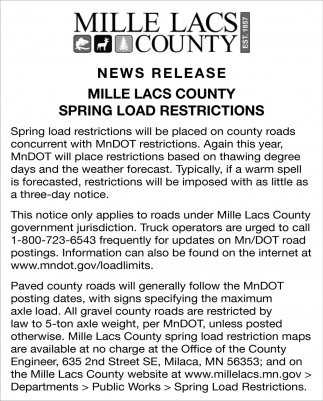 Mille Lacs County Spring Load Restrictions
