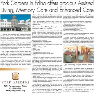 York Gardens in Edina Offers Gracious Assisted Living, Memory Care and Enhanced Care