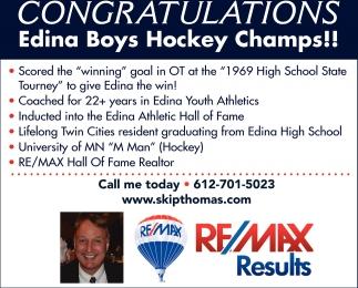Congratulations Edina Boys Hockey Champs!