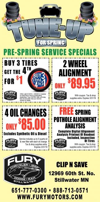 Pre-Spring Service Specials