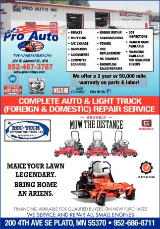 Complete Auto & Light Truck Repair Service