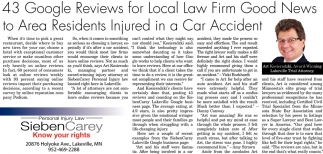 43 Google Reviews for Local Law Firm Goods News to Area Residents