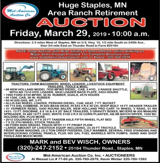 Huge Staples, MN Area Ranch Retirement Auction