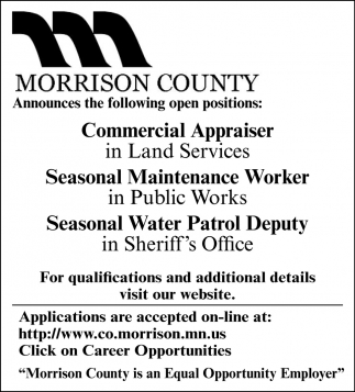 Commercial Appraiser, Seasonal Maintenance Worker & Seasonal Water Patrol Deputy