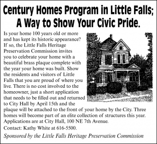 Century Homes Program in Little Falls; A Way to Show Your Civic Pride