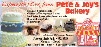 Pete & Joys Bakery Expect the Best from Pete & Joy's Bakery