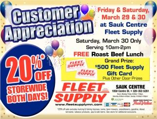 Customer Appreciation at Sauk Centre Fleet Supply