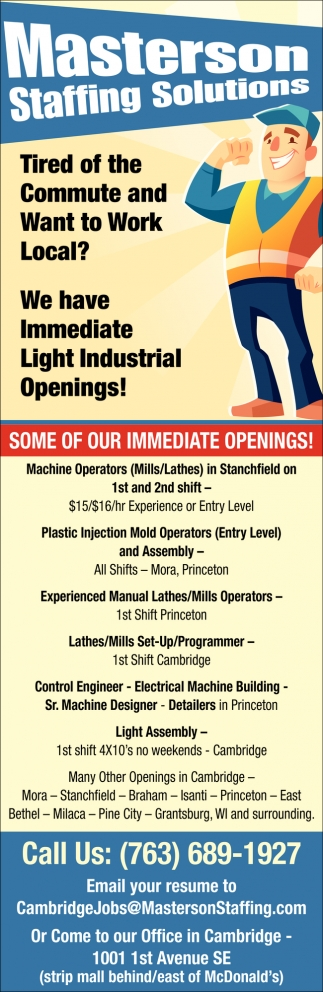 We Have Immediate Lights Industrial Openings!