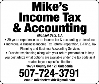 29 Years Experience as an Income Tax & Accounting Professional