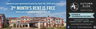 3rd Month's Rent is FREE when You Mention or Bring in this Ad!