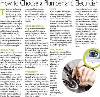 How to Choose a Plumber and Electrician