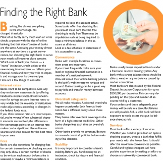 Finding the Right Bank
