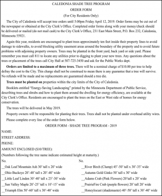 Caledonia Shade Tree Program Order Form