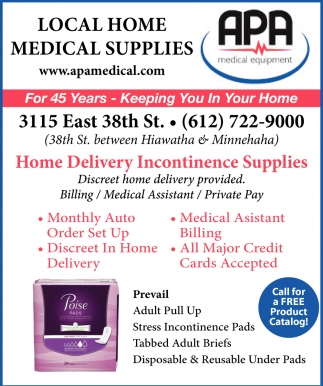Home delivery incontinent supplies