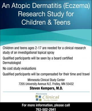 An Atopic Dermatitis (ECZEMA) Research Study for Children & Teens